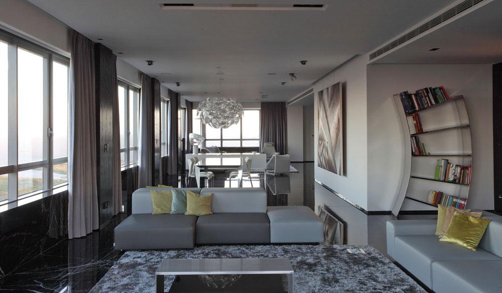 Modern-och-tunn-grå-vardagsrum-interiör-8 Modern och elegant grå vardagsrumsinredning