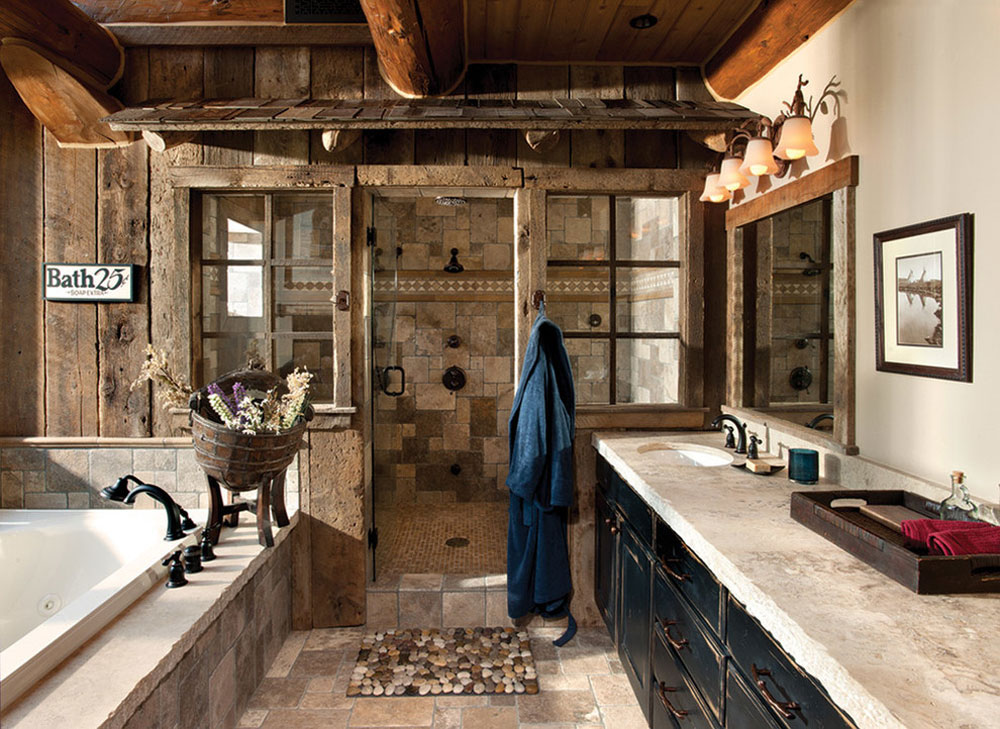 Handgjord-Log-Home-by-MTN-Design Rustik badrumsdesign: idéer, fåfänga, dekor och belysning