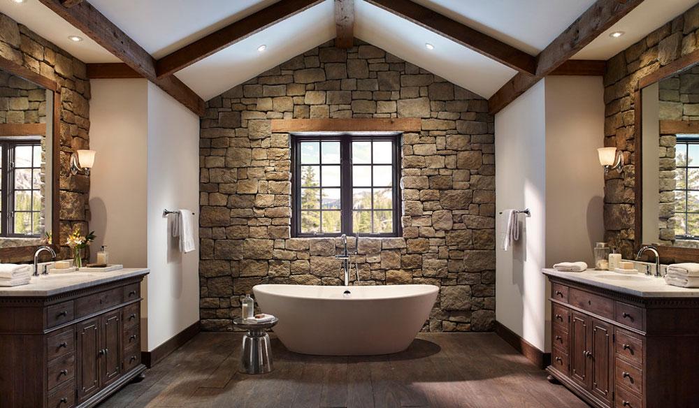 Rustik-sten-vägg-badrum-av-Eldorado-sten Rustik badrumsdesign: idéer, fåfänga, dekor och belysning