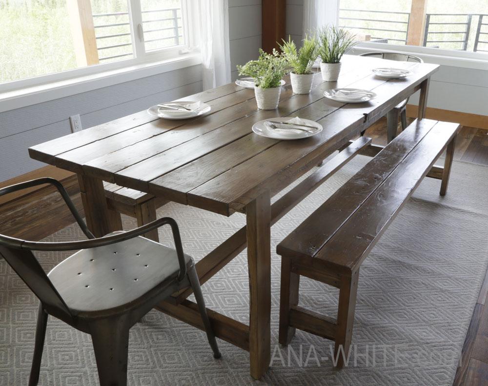 Det enklaste rustika matbordet du kan bygga!  Perfekta planer för nybörjare på bordet efter resenärens plats