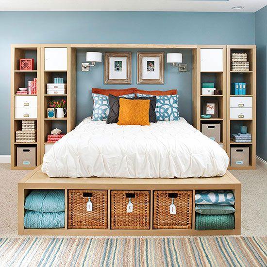 Få DIY-idéer för att öka lagring och organisera ditt sovrum!
