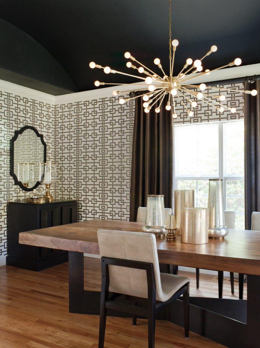 Visa i galleriet Modern svart matsal med en sputnik-ljuskrona 900x1202 Matsal Ljusidéer för en tidning