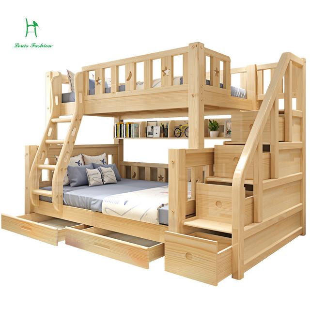 Louis Fashion Barn Våningssäng Real Pine Wood med stege trapplådor säkra och starka