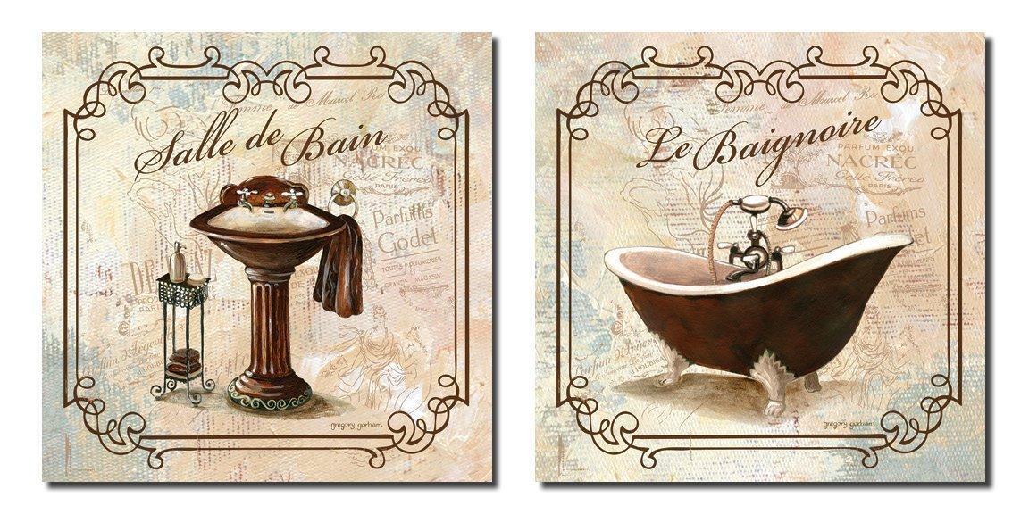 Badrum Väggkonst Bad Dekor Kanvas Bilder Affischer Dekor Vintage 12