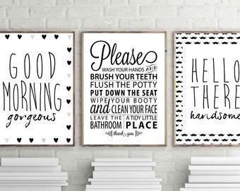 badrumsväggkonst, god morgon underbart tryck, hej stiligt tryck, badrumsregler väggdekor, uppsättning med 3 badrumsposter, minimal konst