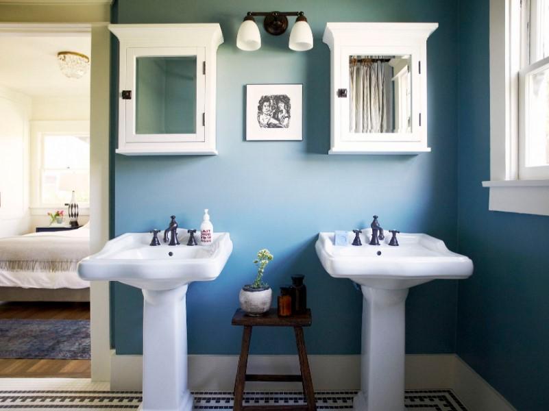 45 Blå badrumsidéer 2020 (olika uppfriskande mönster) 1