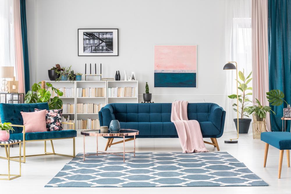 Vardagsrum i pastellfärg