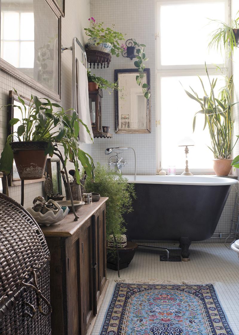 Färskt boho-badrum
