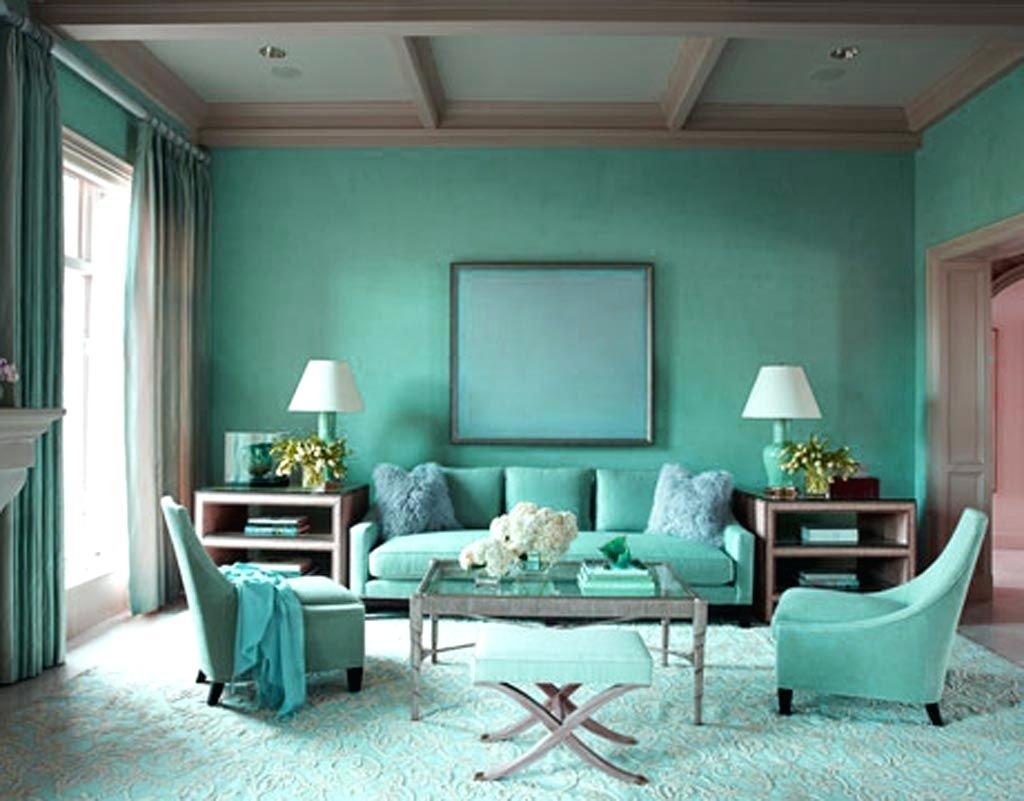 Lysande brunt och turkos vardagsrum