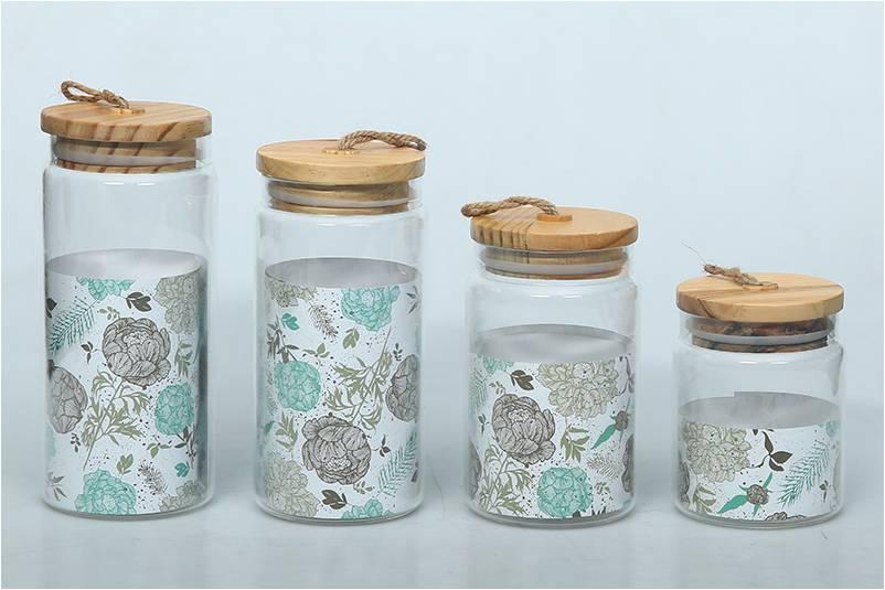 Dekorativa glasbehållare med lock