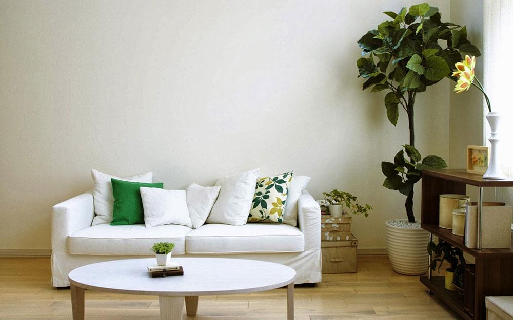 Dekorera hörn av växter med naturligt lövverk i ditt hem