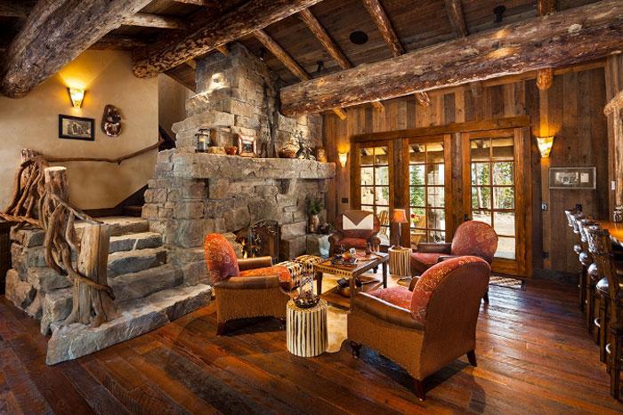 64856172576 Den vackra interiören i rustika vardagsrum