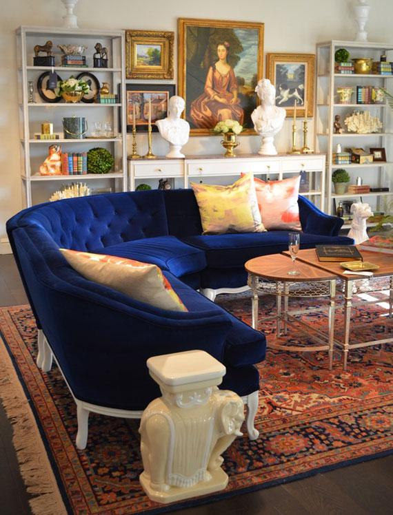 b1 Exempel på vardagsrum inredda i blått
