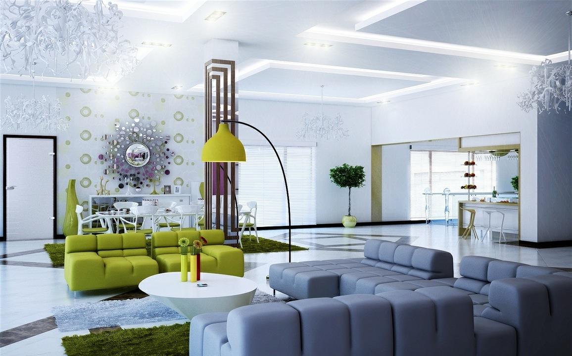 Super fantastiskt grått och grönt modernt vardagsrum