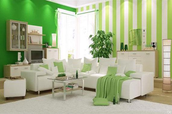 g6 Gröna vardagsrumsdesignidéer: dekorationer och möbler