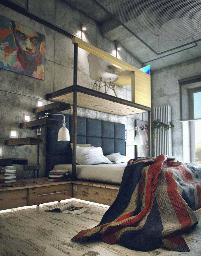 69800458347 Idéer för att designa ditt sovrum i industriell stil