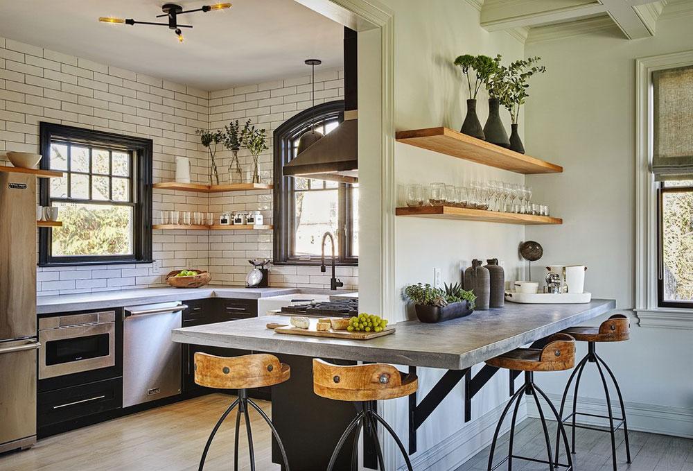 Vagn-hus-för-trädgård designar idéer för industrikök: skåp, hyllor, stolar och belysning