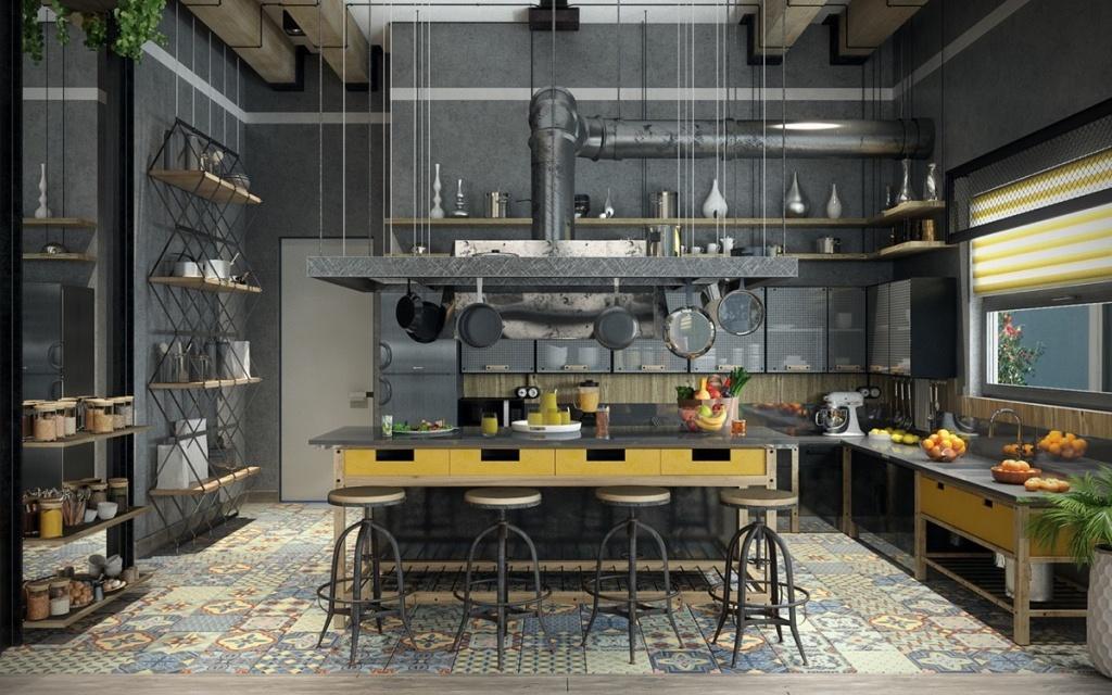 Tall-täckt industriellt kök