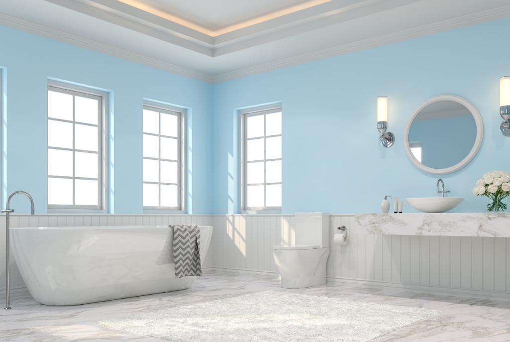 Färskt badrum i marmor