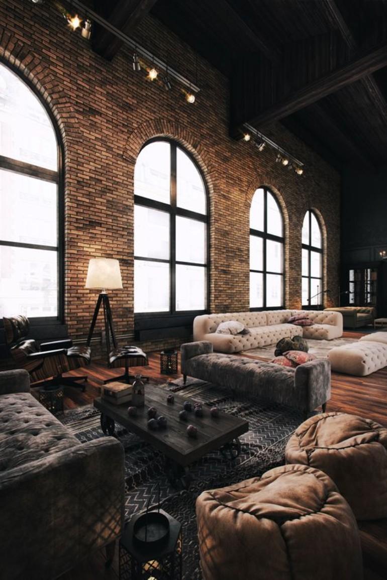 Industriellt vardagsrum med högt fabrikstak.  Källa: livingroomideas.eu