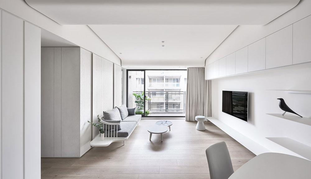 vitt vardagsrum minimalistisk inredning: definition och idéer att använda