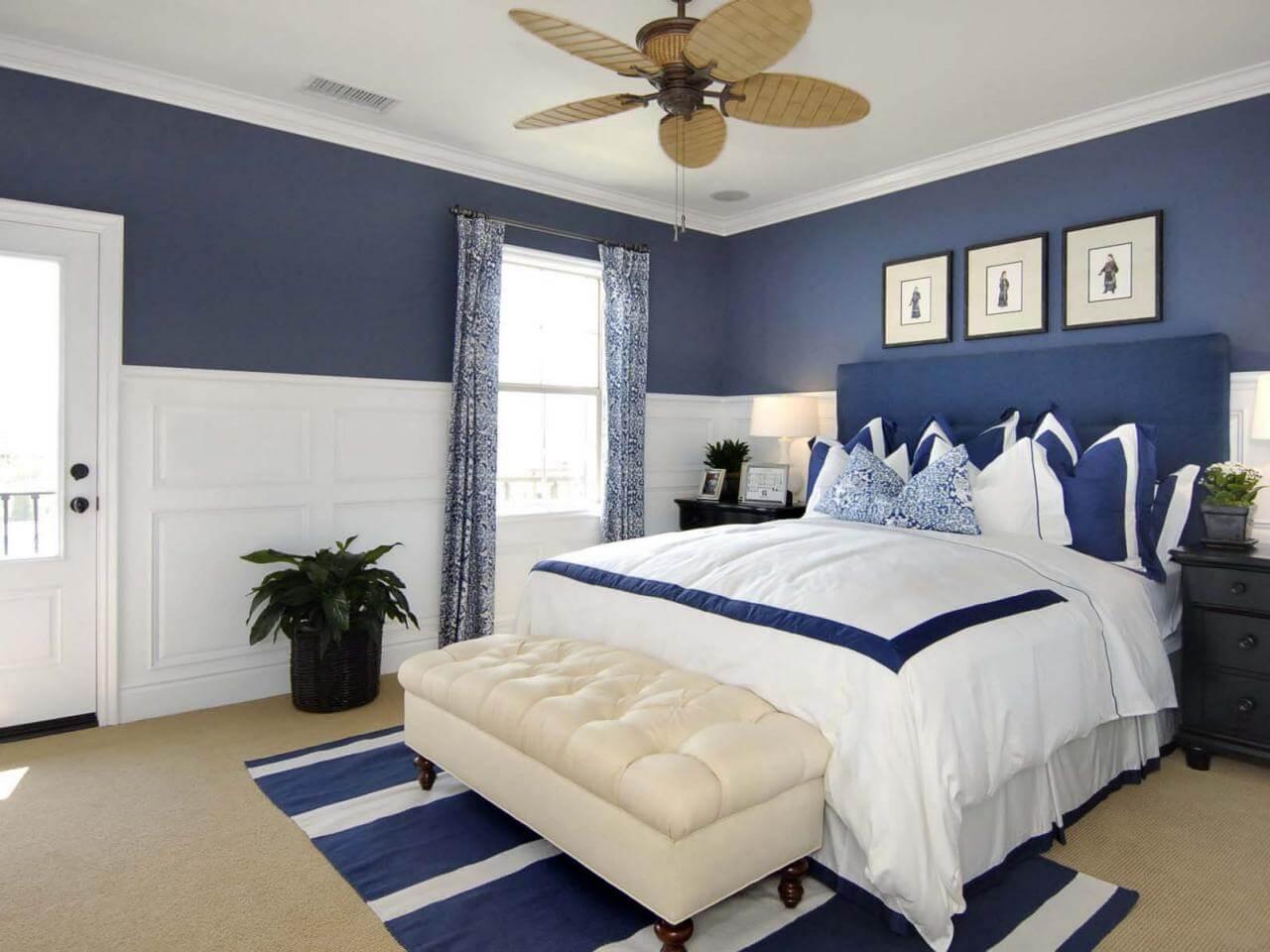 Förförisk mörkblå sovrum