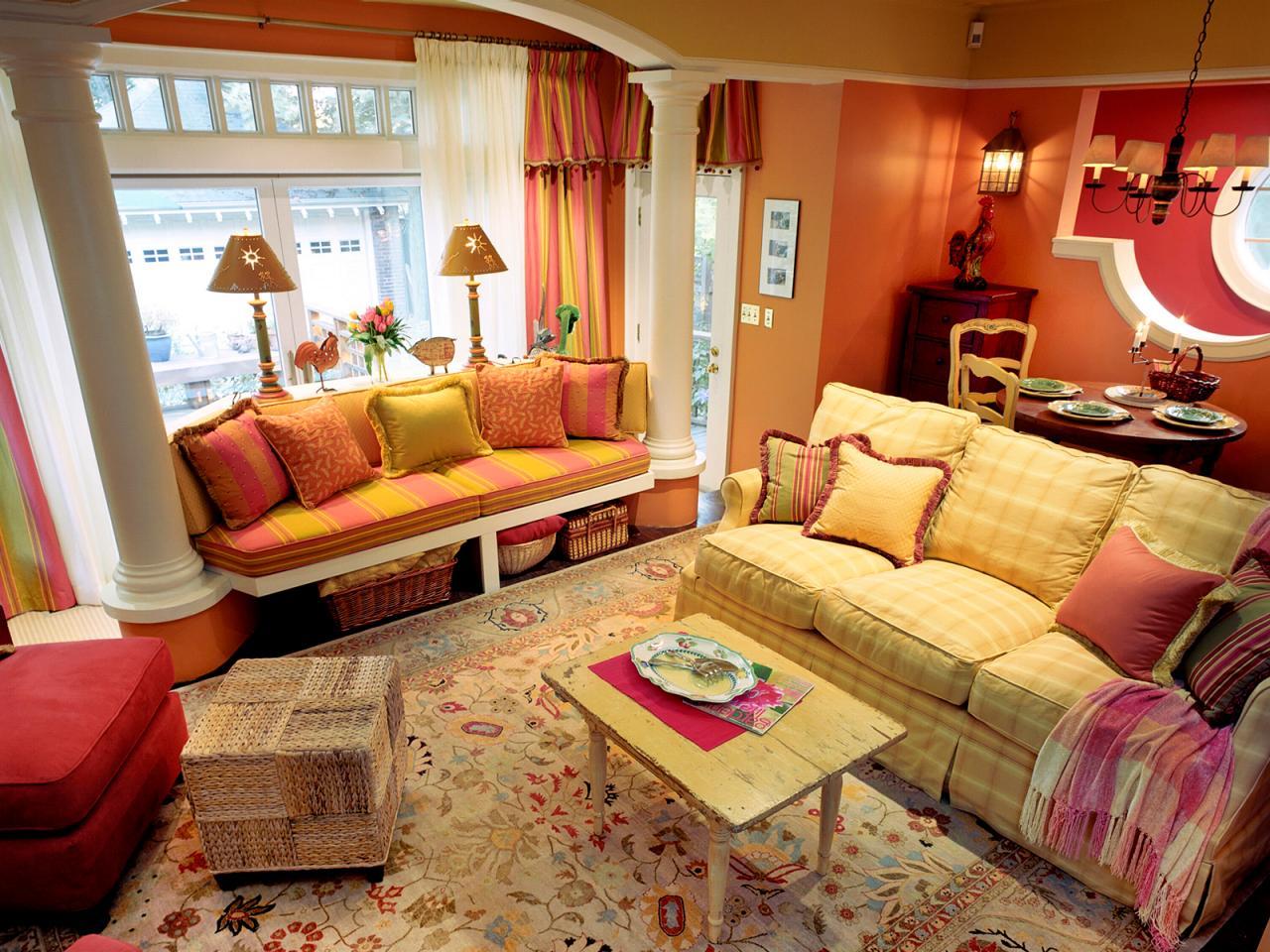 Underbart, färgstarkt vardagsrum