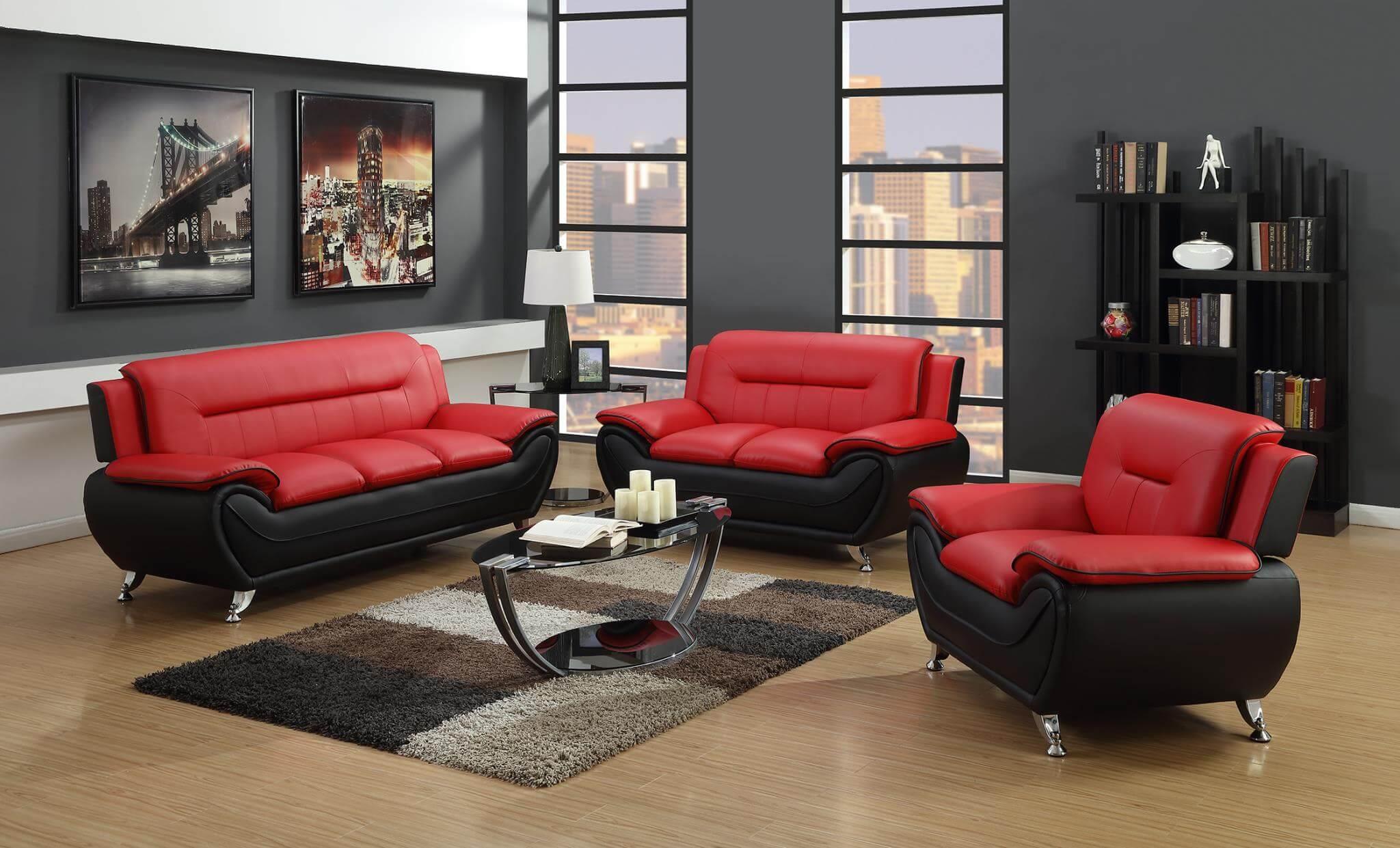 Modernt rött och svart vardagsrum
