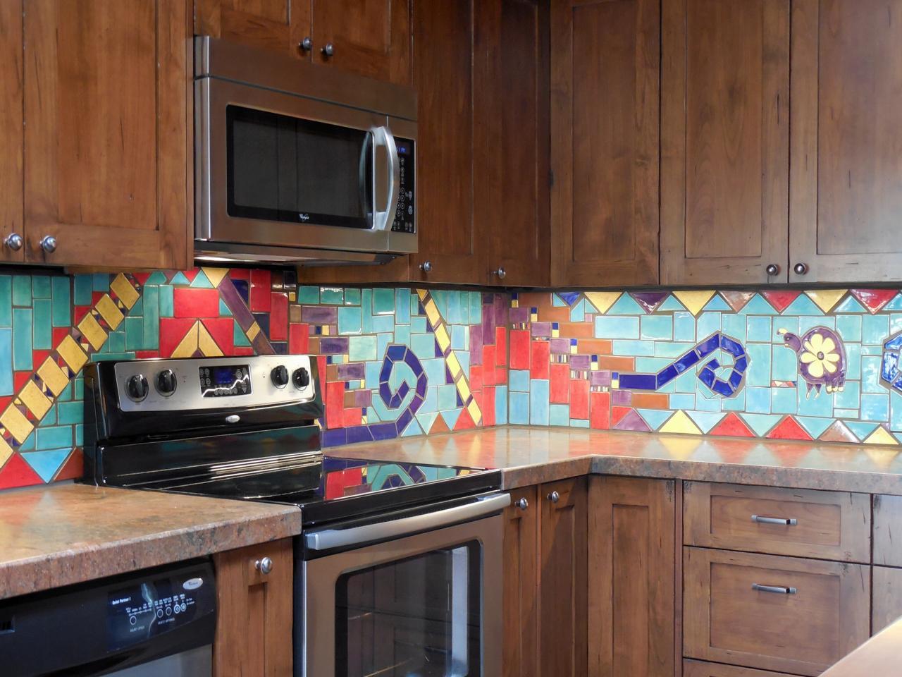 Modern väggmålning Southwest Kitchen Backsplash