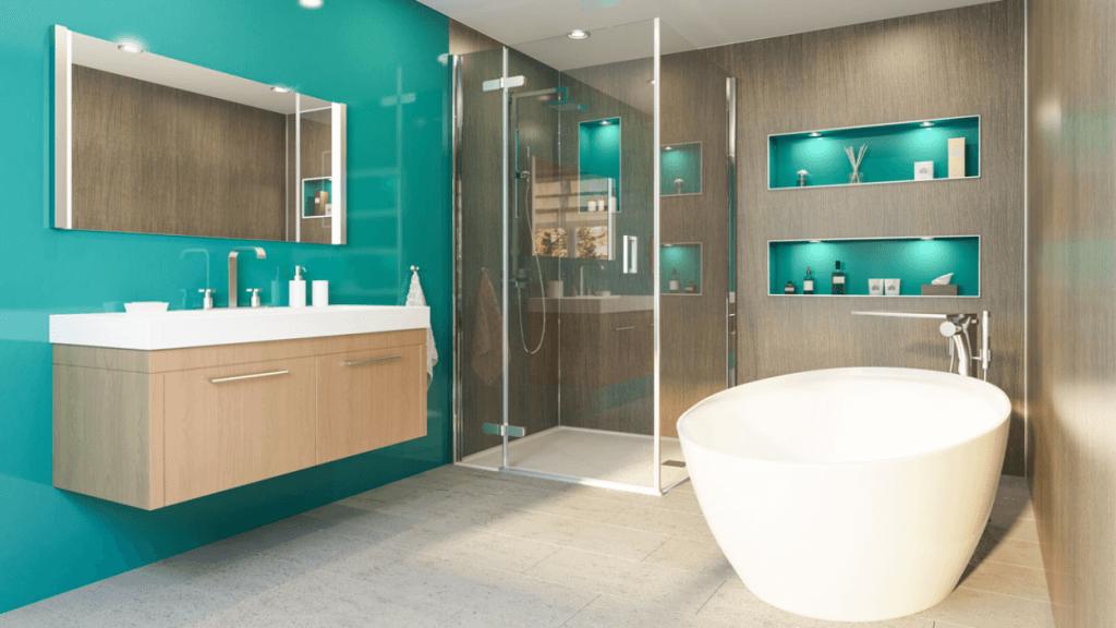 Glödande blågrönt badrum