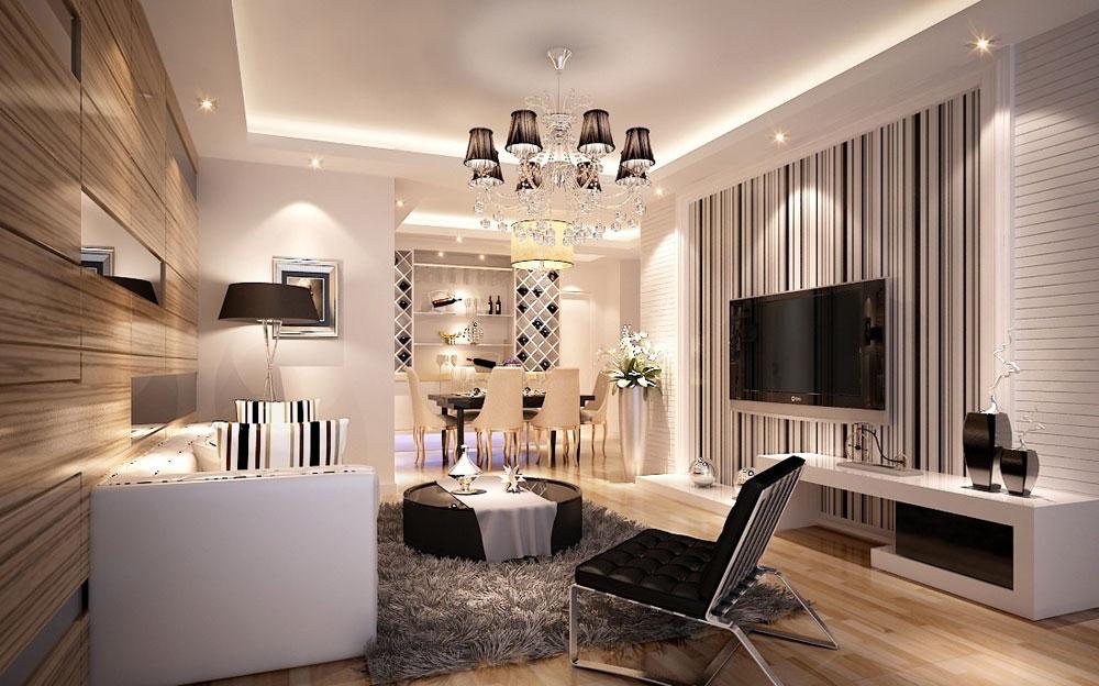 Vackert vardagsrum med randiga väggar-5 Vackert vardagsrum med randiga väggar