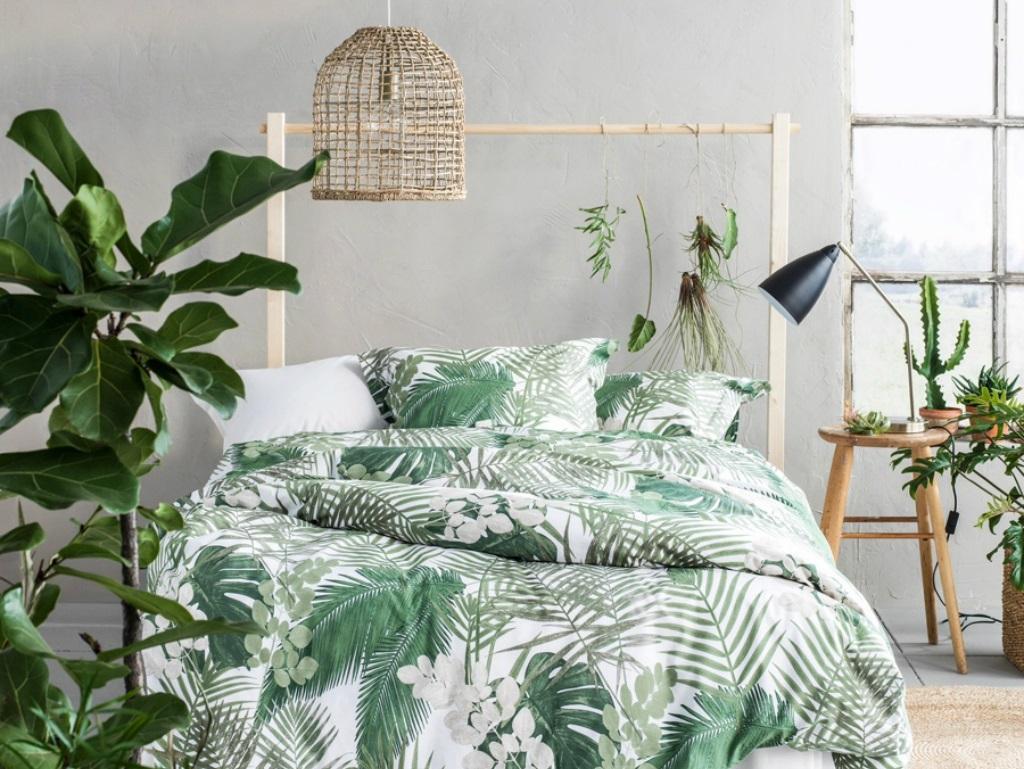 Färska tropiska sovrum