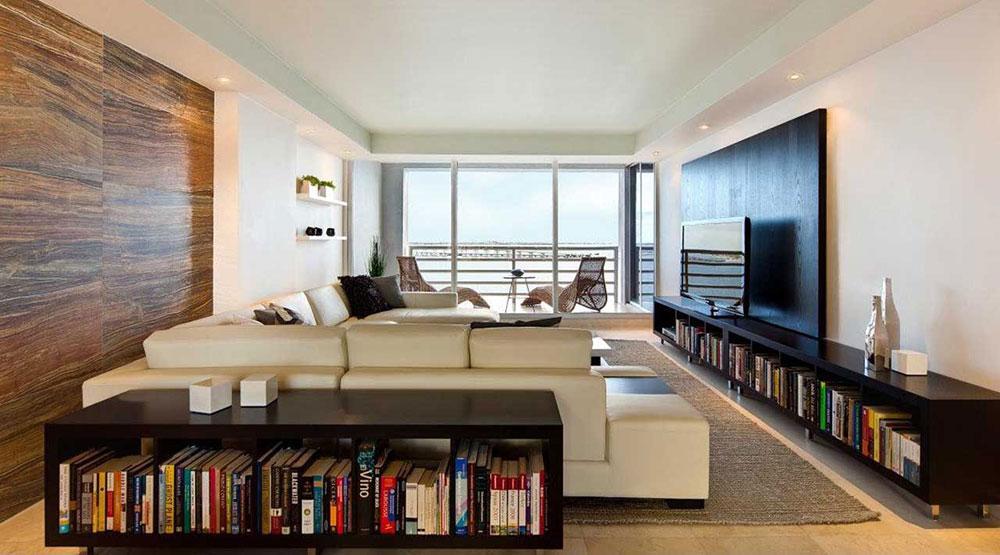 Modern-lägenhet-interiör-för-vardagsrum-med-bokhyllor Uppgradera din lägenhet till din stil