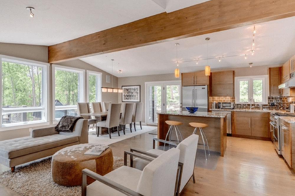 Modern öppen planlösning Väg upp de olika golvbeläggningarna och bestäm vilken som är bäst för dig