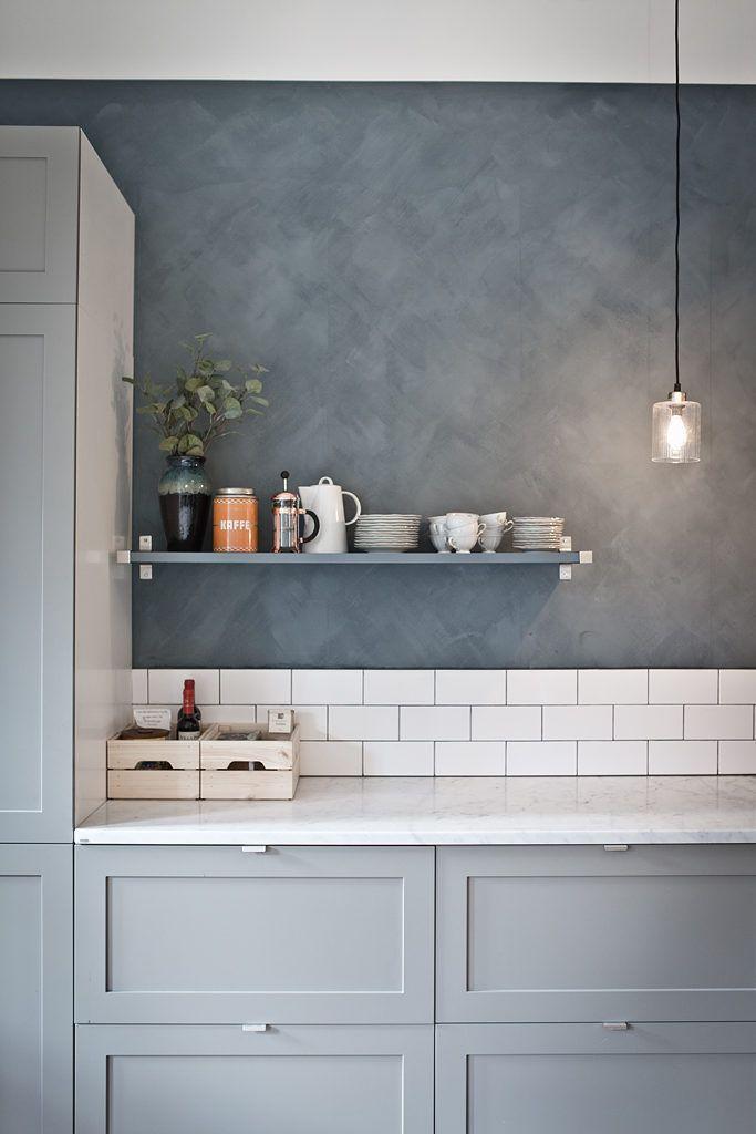Blå köksidéer: skåp, väggar och diskar
