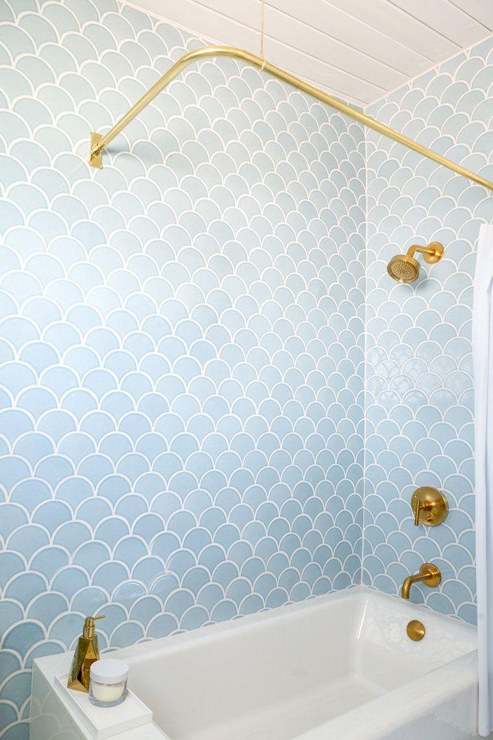 Blå och vita badrumsidéer