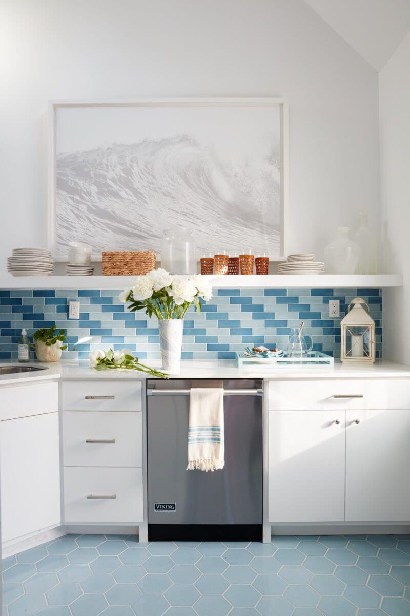 Blue Kitchen Backsplash Idéer