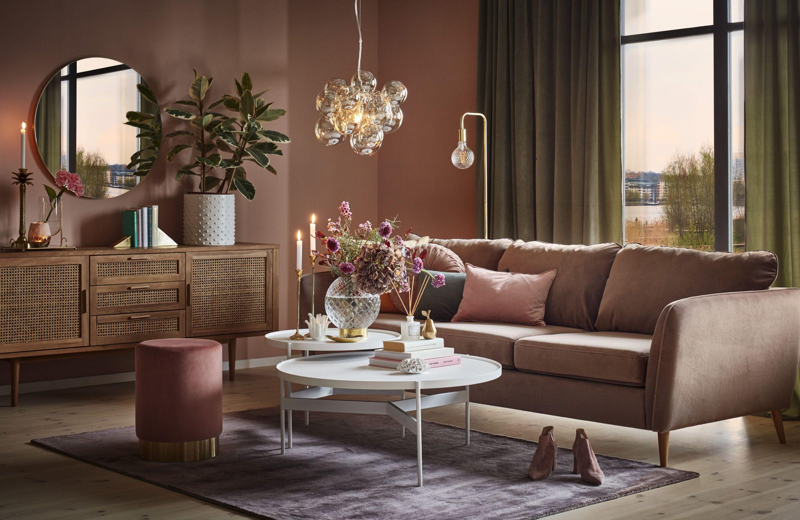 Brun soffa vardagsrum idéer