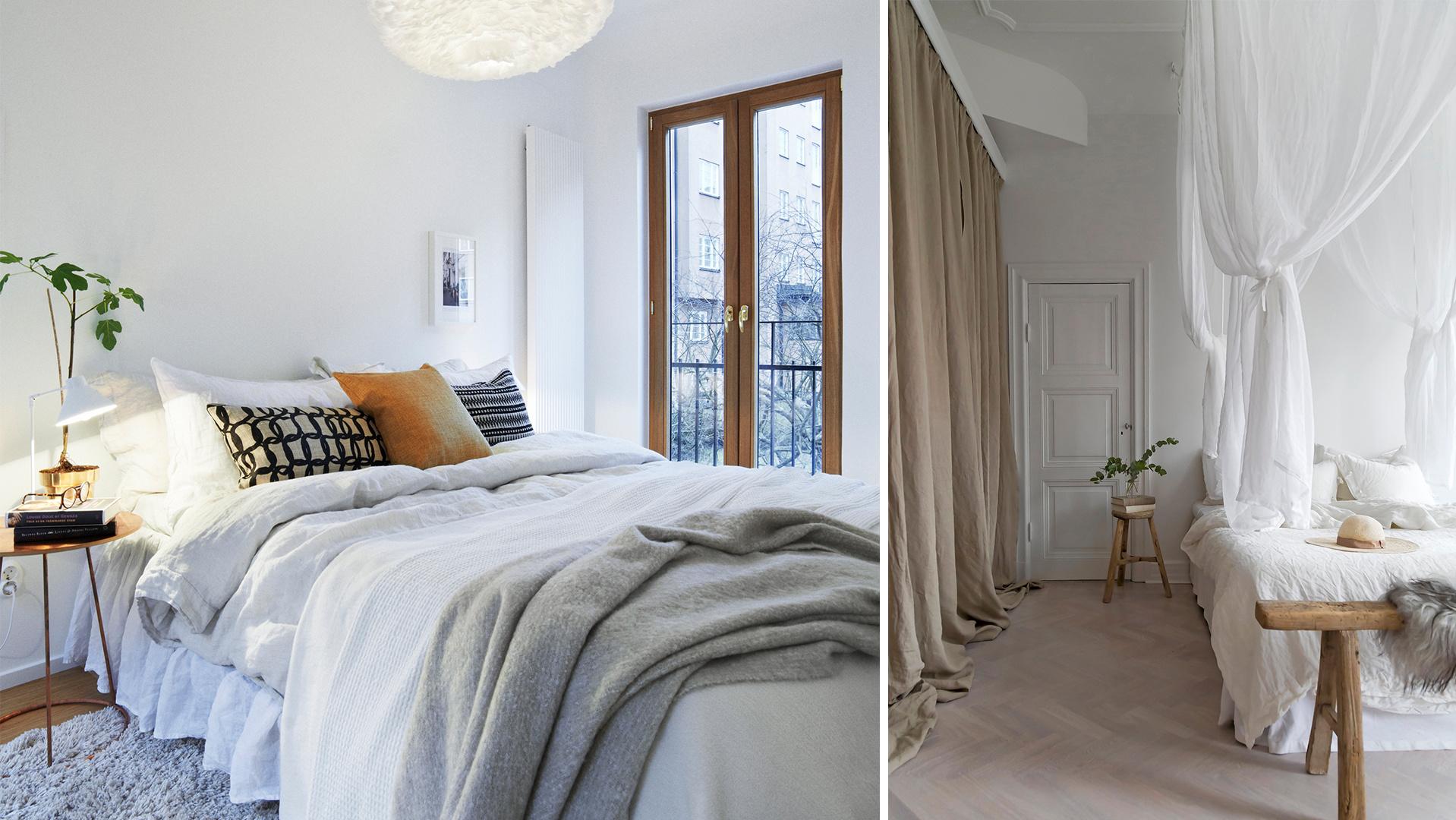 De inte alls extravaganta sovrummen med randiga väggar