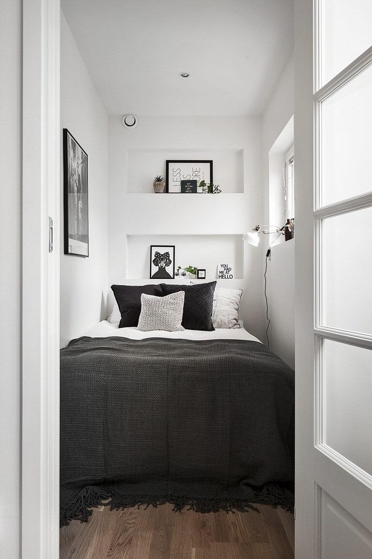 En liten utställning med exempel på inredning för sovrum