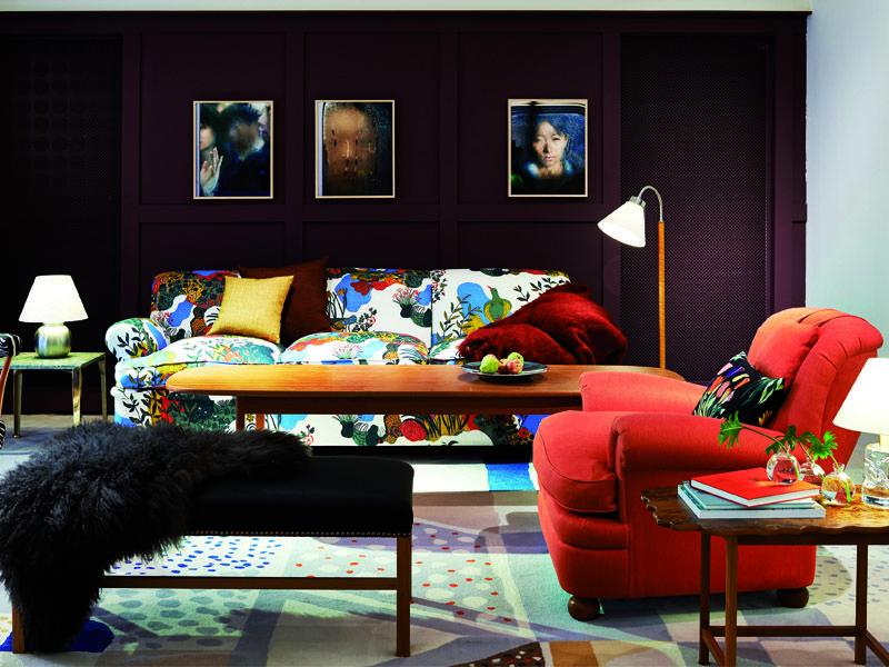 En utställning med moderna inredningsidéer för vardagsrum