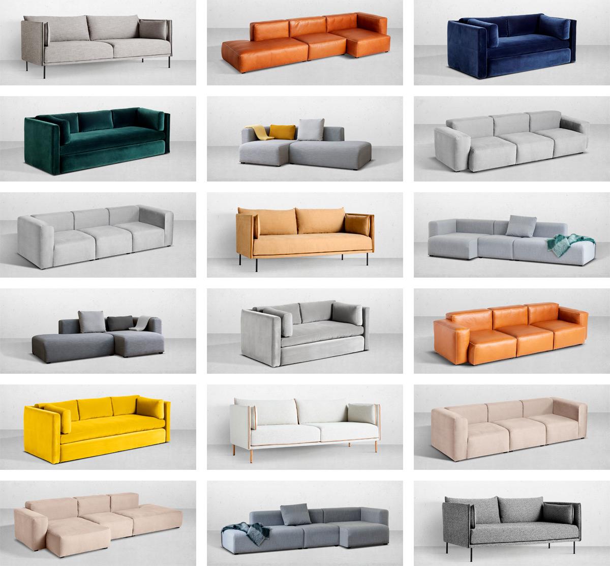 En utställning med moderna soffa design exempel