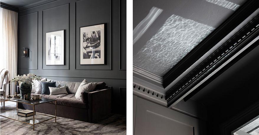 Fantastisk interiör med nyanser av grått