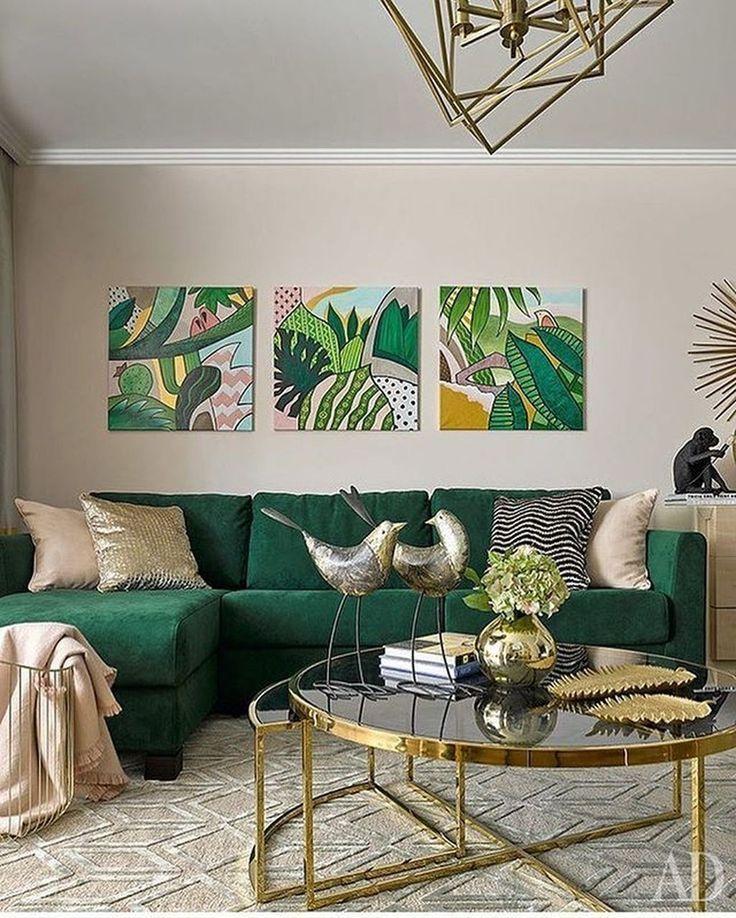 Gröna vardagsrumsdesignidéer: dekorationer och möbler