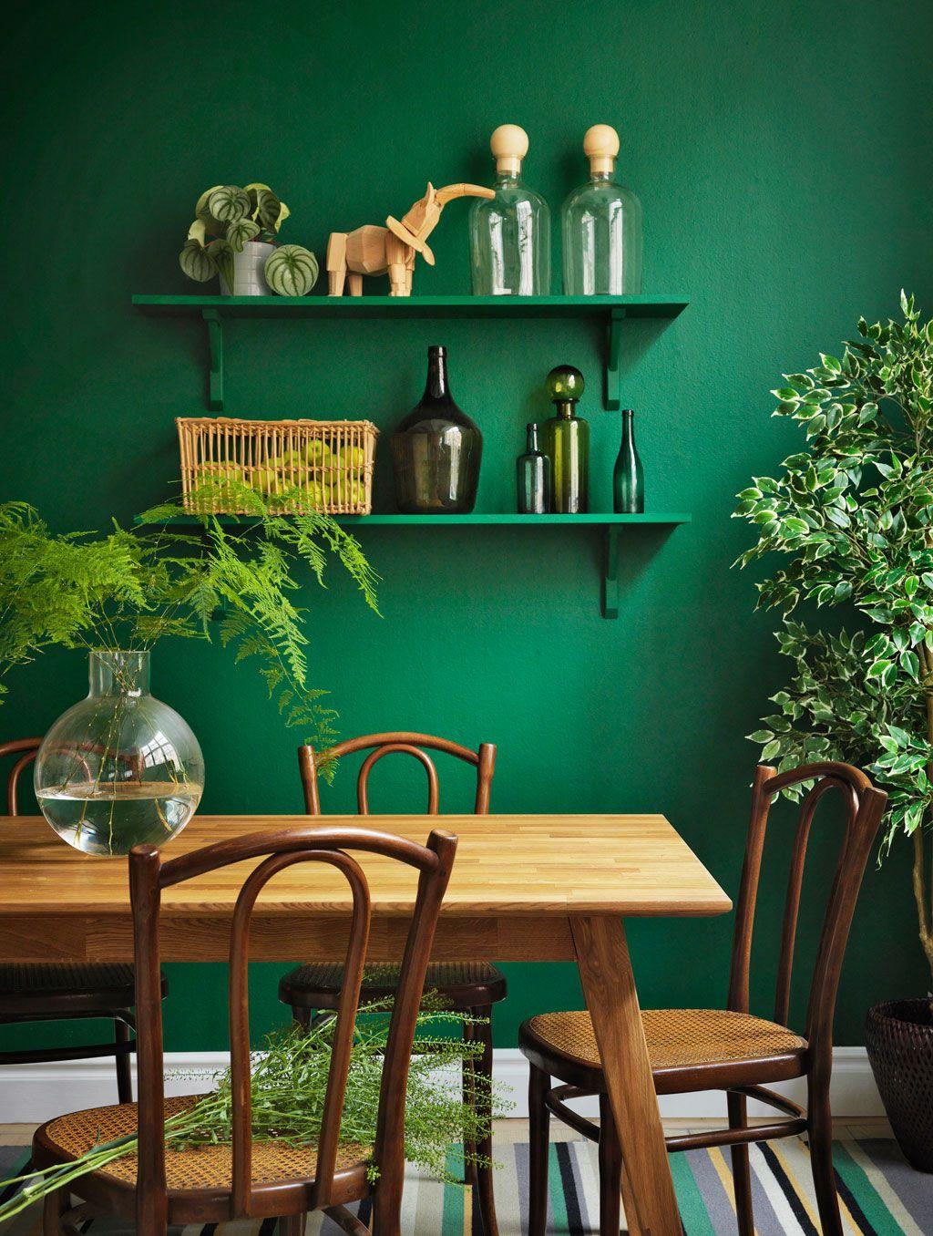 Gröna vardagsrumsidéer: väggar, stolar, färg