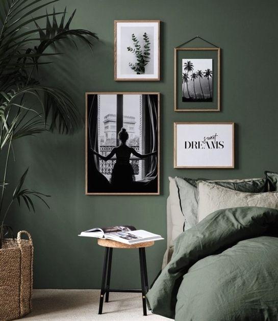Idéer för gröna sovrum: design, dekoration och tillbehör