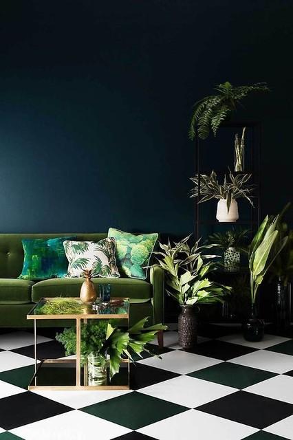 Lysande gröna nyanser för ditt vardagsrum