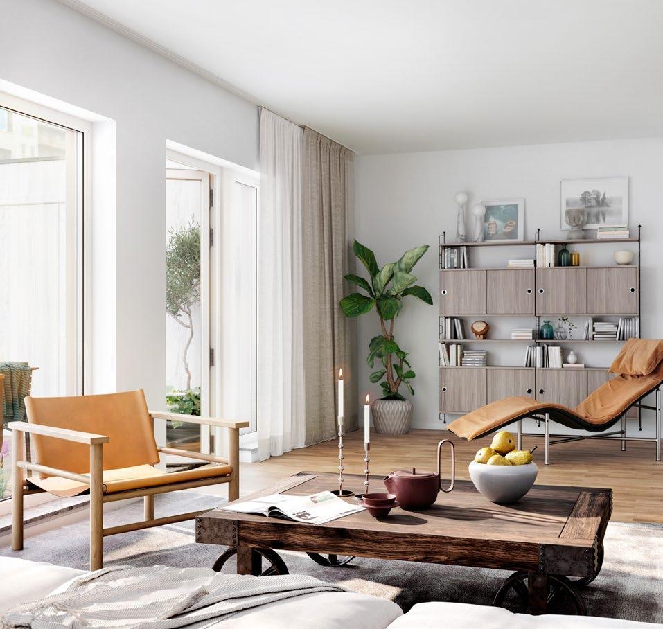Lyxigt hem omgivet av träd som kompletterar den eleganta inredningen
