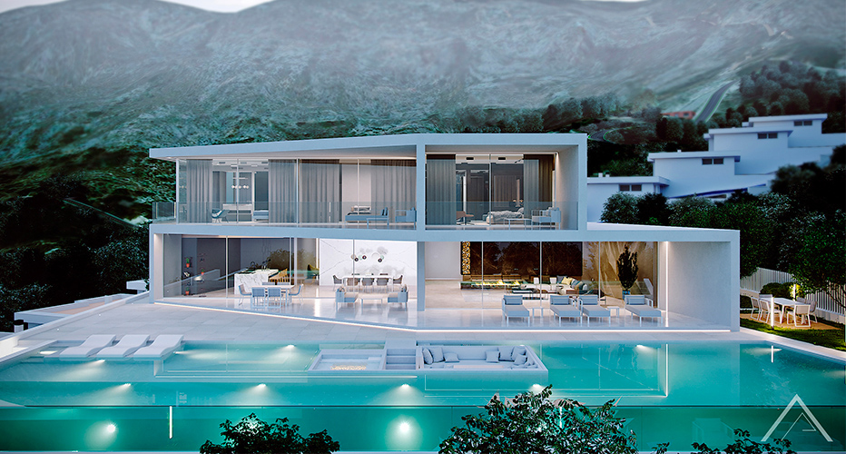 Lyxigt hus med vacker utsikt och vita rum i Cala Marmacen