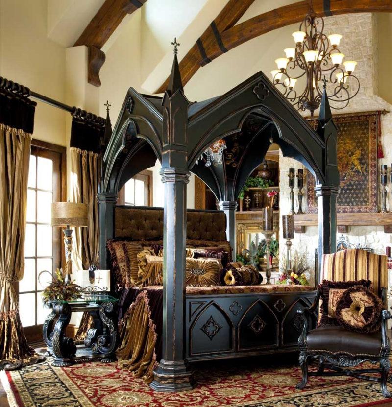 Modern gotisk inredning med dess funktioner och möbler